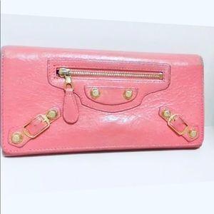 BALENCIAGA Continental Pink Leather Wallet